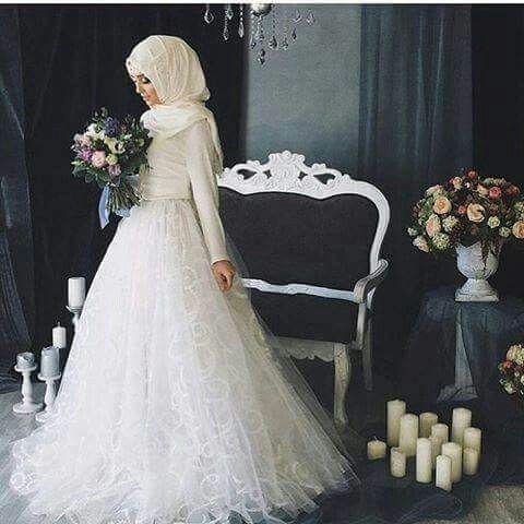 صورة فساتين زفاف محجبات , فستان الفرح للمحجبة