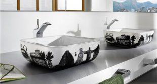 صورة مغاسل ضيوف مودرن , اجمل حوض حمامات منازل مودرن فخمة