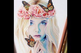 صورة رسومات بنات جميلة , رسم بالوان ورصاص لفتيات