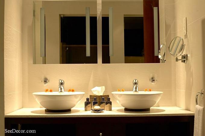 صور ديكورات مغاسل يدين , تصميم مغسلة لمنزل انيق وجميل