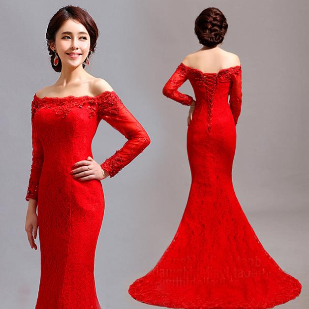 صورة فساتين سهرة باللون الاحمر , احدث موديلات الفساتين