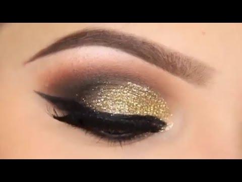صورة مكياج عيون ذهبي , طريقة عمل مكياج ذهبي