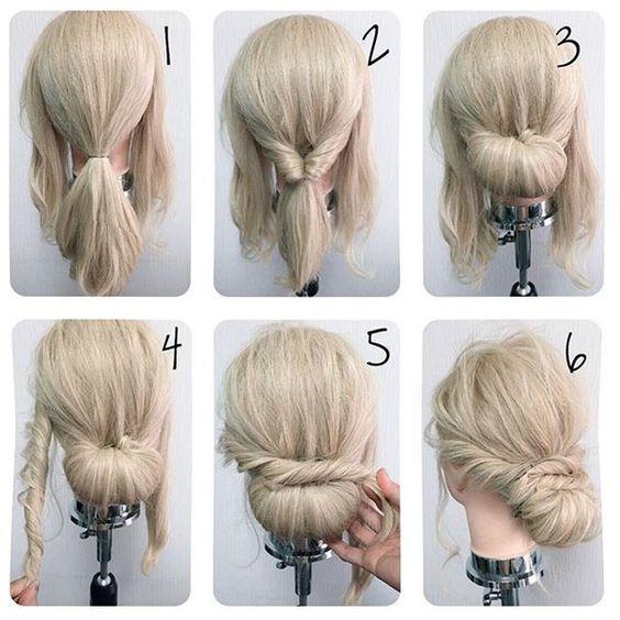 صورة تسريحات شعر مرفوع , تسريحات شعر سهلة وبسيطة جدا 👇 420 19
