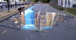 صورة الحقيقة فى شكل رسمة, رسم ثلاثي الابعاد في الشارع