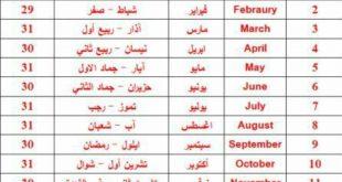 صورة التقويم الهجرى, اسماء الاشهر العربيه